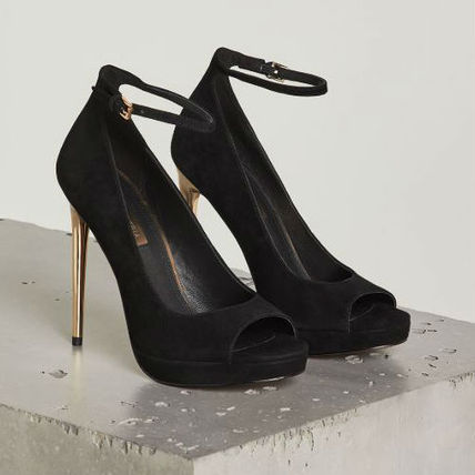 Open Toe Suede Pin Heels Party Style Stiletto Pumps & Mules