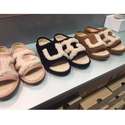 Casual Style Sheepskin Plain Slippers Shoes