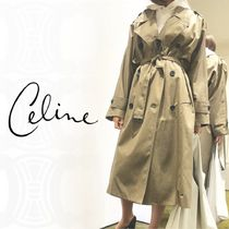 CELINE Unisex Plain Long Khaki Trench Coats