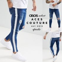 ASOS Stripes Denim Street Style Bi-color Skinny Fit Jeans & Denim