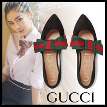 GUCCI Round Toe Casual Style Suede Plain Block Heels Ballet Shoes