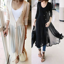 Blended Fabrics Street Style Long Sleeves Plain Long