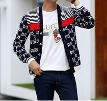 GUCCI Stripes Monogram Unisex Cotton Oversized Cardigans