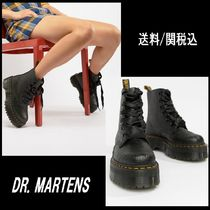 Dr Martens Platform Round Toe Lace-up Casual Style Plain Lace-up Boots