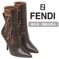 FENDI Blended Fabrics Leather Pin Heels Elegant Style