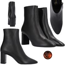 Saint Laurent Sheepskin Plain Chunky Heels Ankle & Booties Boots