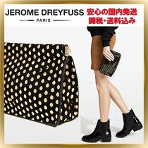 Jerome Dreyfuss Dots Suede Elegant Style Clutches