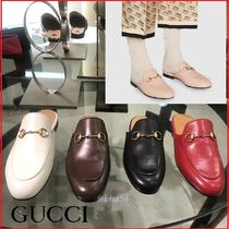 GUCCI Plain Toe Unisex Plain Leather Loafers & Slip-ons
