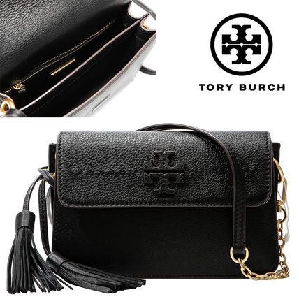 Tory Burch Mcgraw 2018 Ss Plain Leather Party Style Shoulder Bags 50740 001