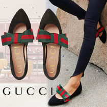 GUCCI Plain Toe Casual Style Suede Blended Fabrics Street Style