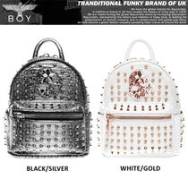 BOY LONDON Faux Fur Studded Street Style Backpacks