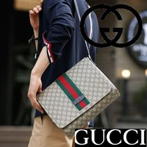 GUCCI Monogram Casual Style Unisex Canvas Street Style
