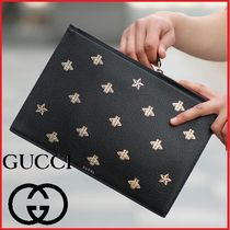 GUCCI Star Unisex Studded Bag in Bag Leather Clutches