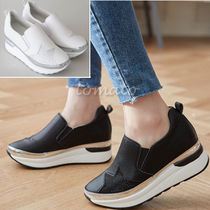 Star Platform Plain Toe Casual Style Faux Fur Slip-On Shoes
