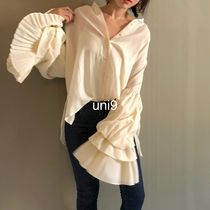 Plain Oversized Puff Sleeves Shirts & Blouses
