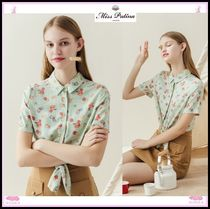 Miss Patina Gingham Casual Style Short Sleeves Shirts & Blouses