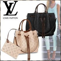 Louis Vuitton MAHINA Monogram Blended Fabrics 3WAY Bi-color Leather Elegant Style