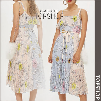 Topshop 2018 19aw Flower Patterns Sleeveless Medium Dresses By