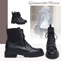 Gianvito Rossi Platform Plain Toe Lace-up Casual Style Leather