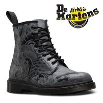 Dr Martens Flower Patterns Street Style Leather Boots