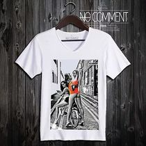 NO COMMENT PARIS Unisex Street Style V-Neck Cotton Short Sleeves