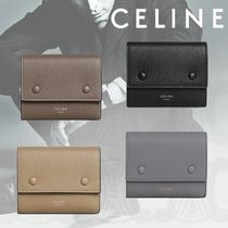 CELINE Unisex Calfskin Plain Long Wallets