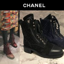 CHANEL Round Toe Lace-up Suede Plain Block Heels Elegant Style