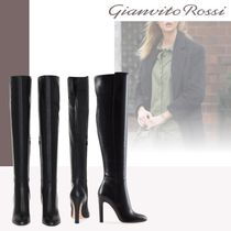 Gianvito Rossi Leather Pin Heels Over-the-Knee Boots