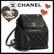 CHANEL ICON Casual Style Unisex Calfskin 2WAY Plain Backpacks