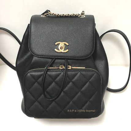 CHANEL Backpacks Casual Style Unisex Calfskin 2WAY Plain Backpacks 2
