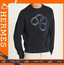 HERMES Blended Fabrics Long Sleeves Plain Cotton Sweatshirts