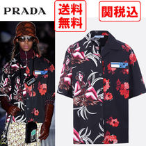 PRADA Tropical Patterns Unisex Street Style Cotton Short Sleeves
