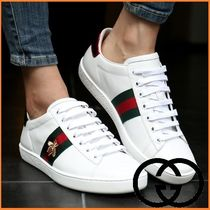 GUCCI Plain Toe Casual Style Unisex Street Style Leather