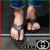 GUCCI Unisex Street Style Leather Shower Shoes Shower Sandals