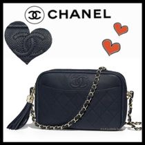 CHANEL ICON Calfskin Tassel Plain Elegant Style Shoulder Bags