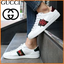 GUCCI Tropical Patterns Plain Toe Casual Style Unisex Street Style