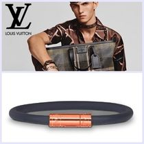 Louis Vuitton Unisex Street Style Plain Leather Bracelets