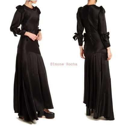 Crew Neck Silk Long Sleeves Plain Long Dresses
