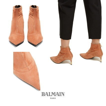 Suede Plain Elegant Style Ankle & Booties Boots