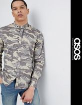 ASOS Camouflage Long Sleeves Band-collar Shirts Shirts