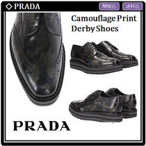 PRADA Camouflage Wing Tip Leather Oxfords