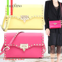 VALENTINO Casual Style Calfskin Studded Plain Shoulder Bags