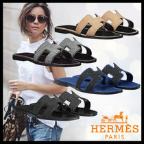 HERMES Oran Open Toe Casual Style Bi-color Plain Leather Sandals