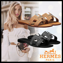 HERMES Oran Open Toe Casual Style Studded Plain Leather Sandals