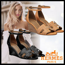 HERMES Open Toe Casual Style Studded Plain Leather