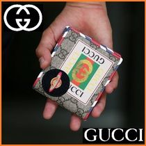 GUCCI Monogram Unisex Canvas Street Style Folding Wallets