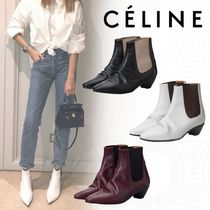 CELINE Casual Style Plain Leather Block Heels Bold