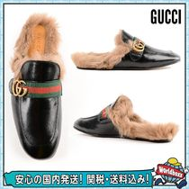 GUCCI Princetown Plain Leather Sandals