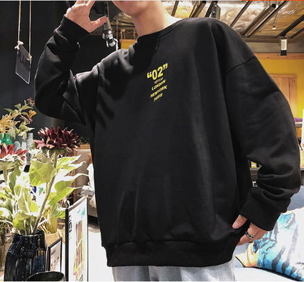 Sweatshirts Crew Neck Pullovers Street Style Long Sleeves Plain 5