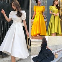 Nylon Flared Plain Long Short Sleeves Party Style Dresses